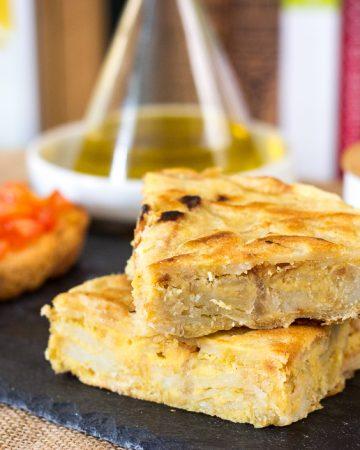 Tortilla de patatas vegana y sin gluten