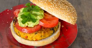 Hamburguesa vegana de garbanzos y tofu