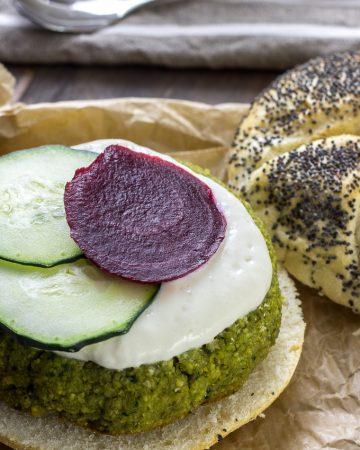 Hamburguesa de falafel al horno
