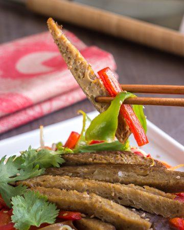 Seitán con verduras al curry