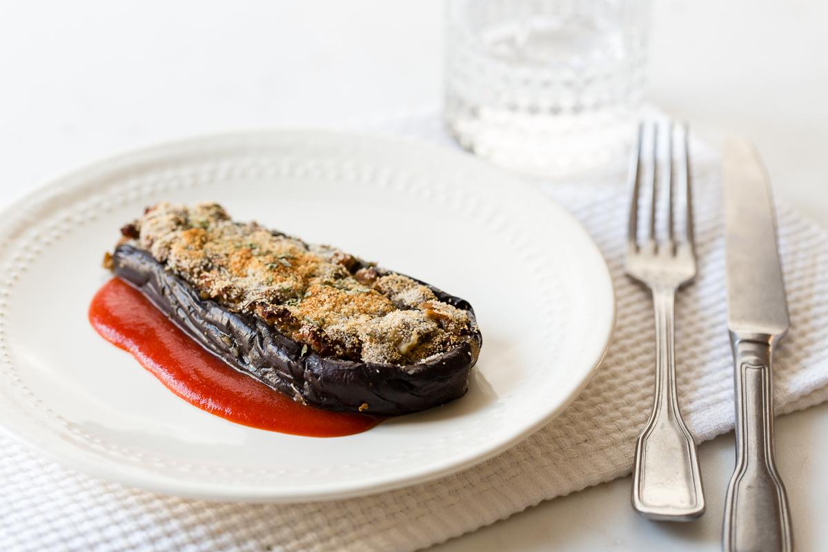 Berenjenas rellenas de soja texturizada delantal de alces for Cocinar soja texturizada